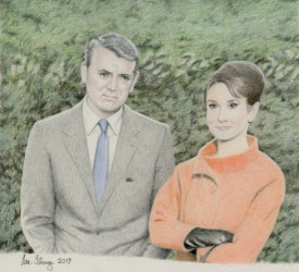 Drawing demo of Audrey Hepburn and Cary Grant