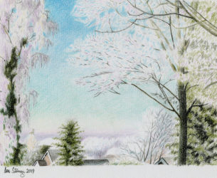 Drawing demo of a winter scene