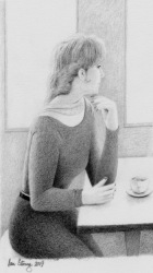 Drawing demo of a lady in a coffee shop