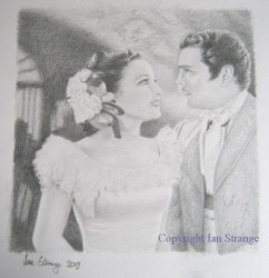 Drawing demo of Linda Darnell and Tyrone Power
